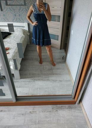 Красивое вискозное платье сарафан миди с кружевом