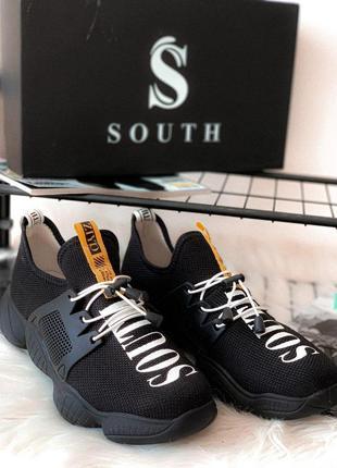 👟 кроссовки мужские south cross black / наложенный платёж bs👟