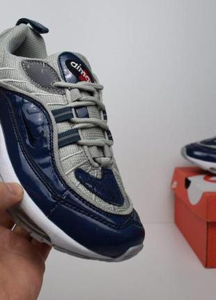 Nike air max 98 supreme синие с серым