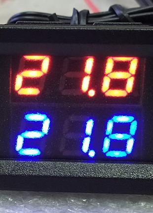Цифровий термометр два датчика індикатори червоний і синій