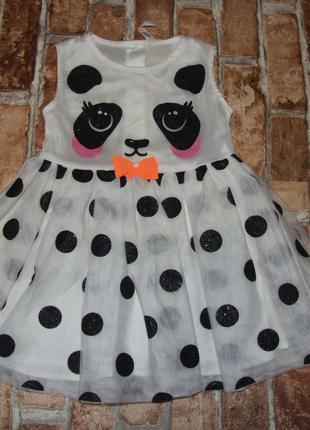Нарядное пышное платье 1 - 2 года девочке панда h&m