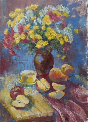 Натюрморт с цветами и фруктами Картина Живопись