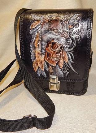 """Мужская сумка """"Волк""""/Чоловіча сумка подарунок/сумочка для хлопців"""