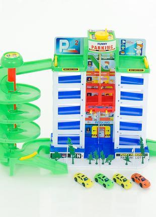 Гараж игрушечный детский (6 уровней, 4 машинки)