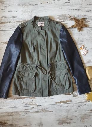 Деми весна/осень легкая куртка парка зам. кожаные рукава