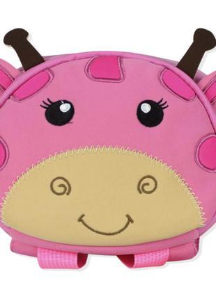 Детский рюкзак, розовый. жирафик.