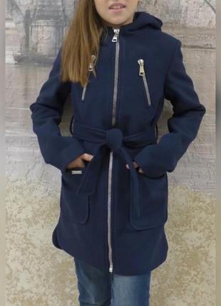 Пальто кашемир для девочки на рост 128-152