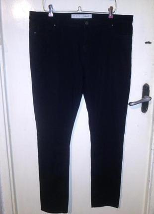 Стрейч,зауженные,угольно-чёрные джинсы-слим,с карманами,большо...