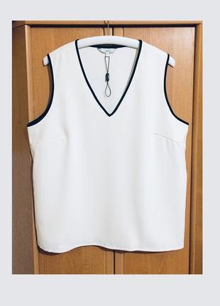 Белая блуза блузка next пог 57 см без рукава черный кант
