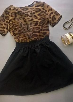 Стильное платье сарафан леопард