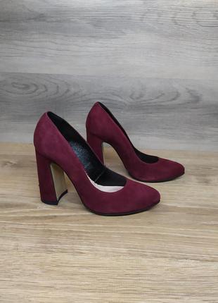 Туфли на каблуке - натуральная замша model 2215