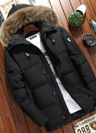 Мужской зимний пуховик куртка jeep с опушкой, чёрный