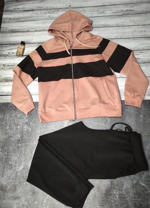 Женский спортивный костюм чёрный персиковый размер 50, 52