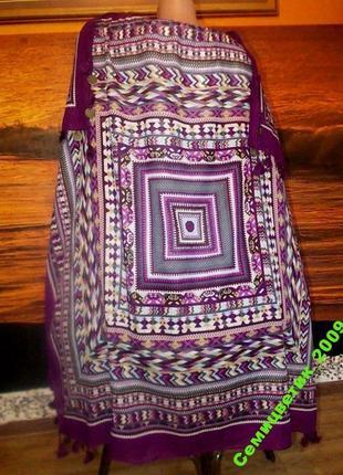 Роскошный платок с монетками 100х100см