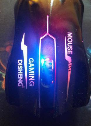 Игровая мышь D1 глянцевая с подсветкой Черная