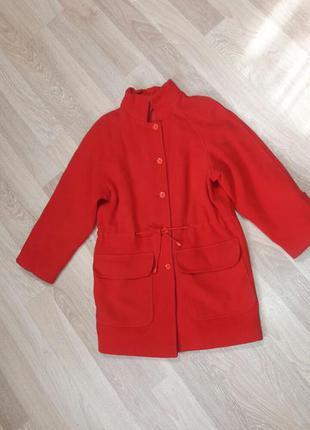 Красное шерстяное пальто кокон canda