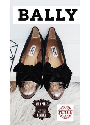 Bally туфли лоферы с бантом из натуральной замши/кожи
