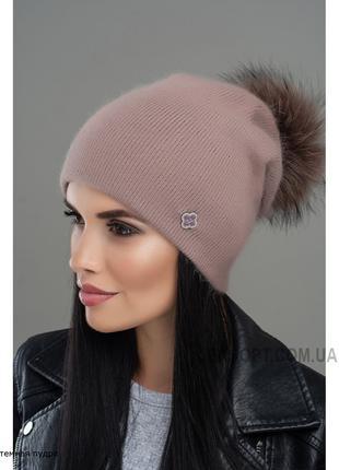 Теплая ангоровая шапка с помпоном Джанет