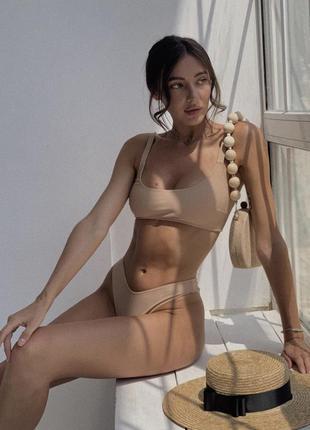 Изысканный телесный купальник с трусиками стрингами 🖤