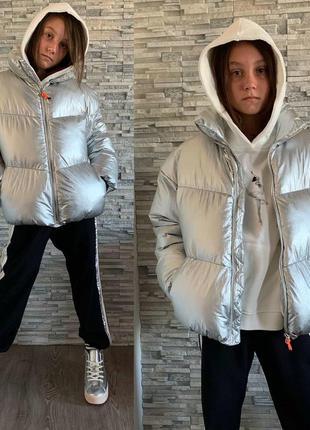 Детская демисезонная куртка на девочку серебристого цвета фирм...