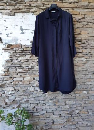 Стильное с карманами платье рубашка большого размера