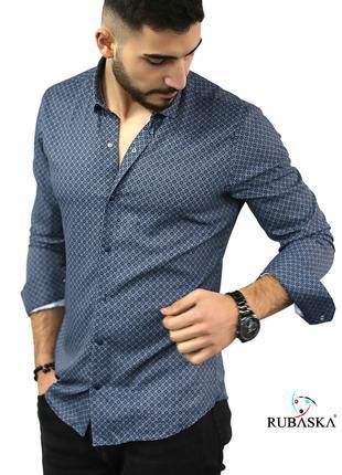 Мужская рубашка с длинным рукавом Rubaska Турция(35-17-801)