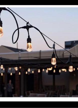 Вулична ретро гірлянда Lemanso під LED лампи. Уличная гирлянда
