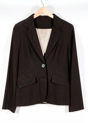 Женский жакет в полоску, коричневый пиджак двубортный, классич...