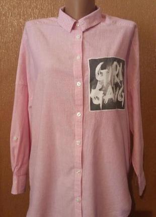 Рубашка в полоску с нашивкой свободный стиль оверсайз размер 1...