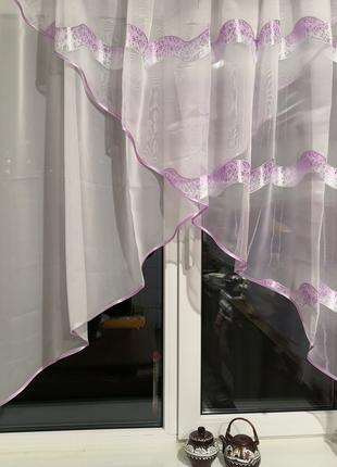 Занавеска штора тюль два угла полоски