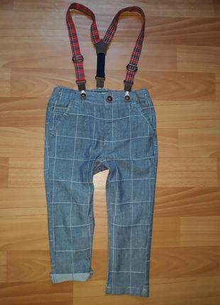 Стилёвые брюки с подтяжками next на 12-18 мес 2017г