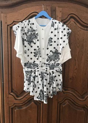 Блузка в цветочный принт и горошек