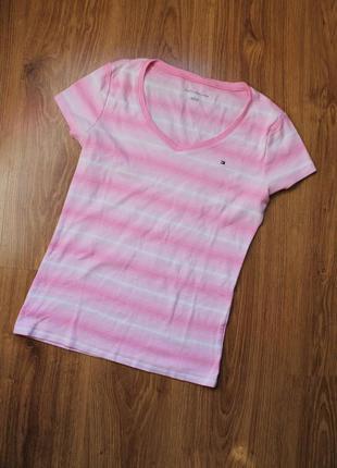 Красивейшаяя удлиненная футболка в полоску хлопок tommy hilfiger