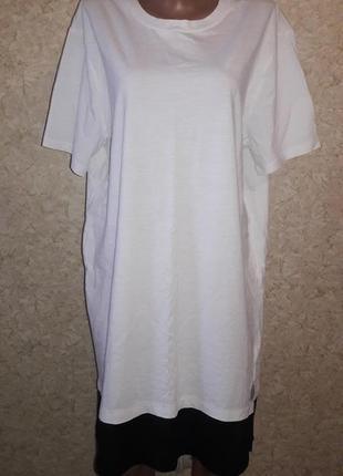 Белая хлопковое платье-футболка в спортивном стиле оверсайз с ...