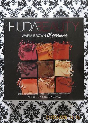 Палетка теней huda beauty warm brown obsessions 10 г eyeshadow...