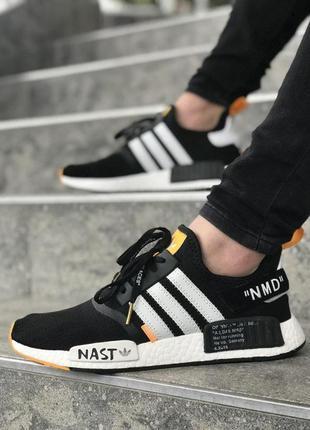 Стильные мужские кроссовки adidas nmd x off-white чёрные