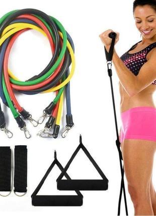 Эспандер (еспандер) трубчатый, набор для фитнеса 5 шт, фитнес ...