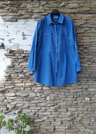 Стильная котоновая рубашка туника большого размера