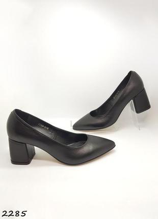 Кожаные черные туфли на каблуке 6 см, мягкие, удобные
