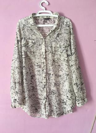 Шикарная блуза строгая стильная цветочный принт