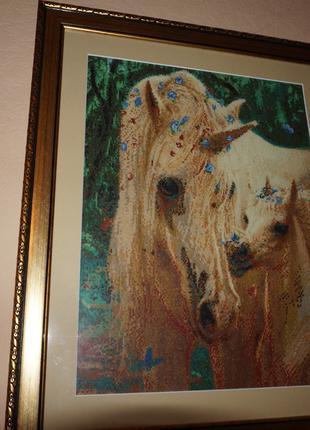"Картина вышитая нитками ""Лошади"""