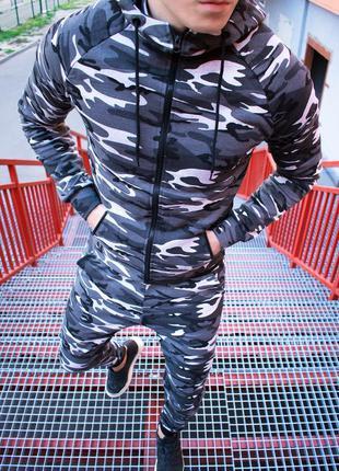 Спортивный костюм камуфляж серый