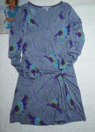 Трикотажное платье с драпировкой перехлестом с длинным рукавом...