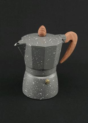 Кофеварка гейзерная. Мраморная. 3 чашки.