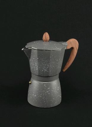 Кофеварка гейзерная. Мраморная. 6 чашек.