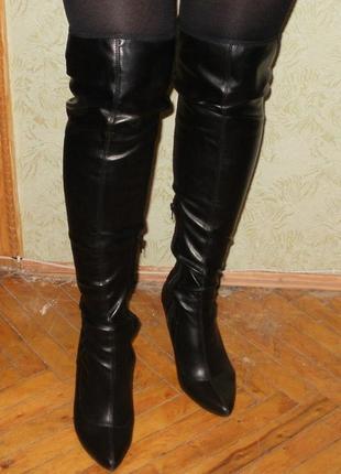Сапоги ботфорты-чулки размер 39,5 см. черные, эко-кожа. стельк...