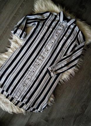 Модное коттоновое платье рубашка в тёмно-синюю полоску dorothy...