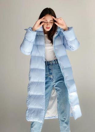 Зимний длинный  пуховик голубой