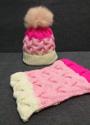 Вязаный набор (шапка и шарф)