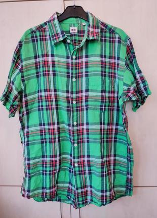 Рубашка uniqlo лен+хлопок